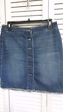 Earl Jeans NEW Blue Womens Size 8 Button Front Straight Denim Skirt $46