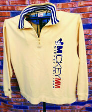DISNEY MICKEY MOUSE 1928 1/4 ZIP PULLOVER YELLOW Med COTTON SWEAT SHIRT NICE