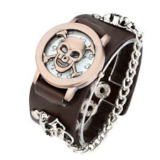 Men's Punk Chain Skull Watch Bracelet Gothic Stainless Steel Wrist Watches