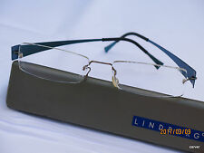 Lindberg Spirit Rimless Titanium Eyeglass Frame Teal Blue Excellent Condition