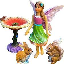 Fairy Flower Garden Miniature Set of 4 pcs Hand Painted Figure Outdoor Decor New