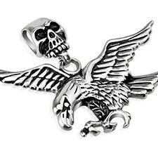 Skull Clasp, Fierce Eagle Stainless Steel Pendant 2.28 x,2.76 Gothic Free Chain
