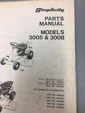 simplicity 3005&3008 tractor/manual ,Parts manual simplicity