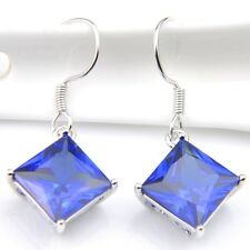 Fashion Jewelry Gift Square Cut Blue Topaz Gemstone Silver Dangle Hook Earrings