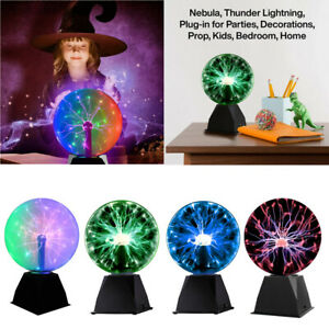 8'' Magic Plasma Ball Touch & Sound Sensitive Lamp Light 3 Colors Crystal Light