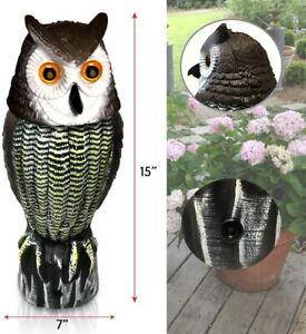 W/SOUND/LIGHT Rotating Head Owl Decoy Garden Protection Repellent Bird Scarecrow