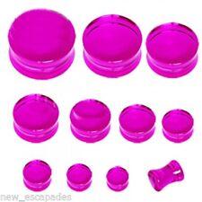 "PAIR-UV Purple Transparent Acrylic Double Flare Plugs 12mm/1/2"" Gauge Body Jewel"