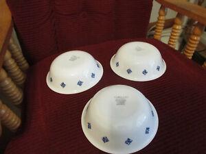 "3 Corelle BLUE STAR Soup/Cereal Bowls 6 1/4"" x 1 7/8"" Deep BLUE DESIGN ON WHITE"