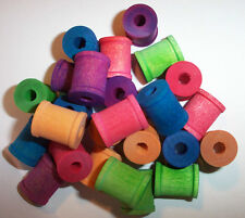 "25 Bird Toy Parts Colored Wood Spools 3/4"" Wooden Parrot Toy Parts W/ Hole New"