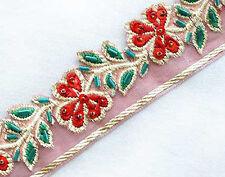 "3 Yard Hand-Beaded Jacquard Trim Metallic Gold & Red Organza Ribbon 1 1/8"" Wide"