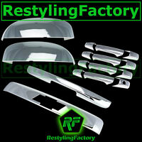 07-14 Chevy TAHOE Chrome Top Mirror+4 Door Handle no PSG KH+Liftgate LOGO Cover
