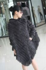 Ladys'fashion fur cape amice poncho rabbit knit on yarn