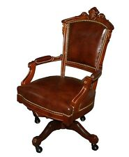 Victorian Swivel Chair in Burgundy Leather 1800-1899 #7285