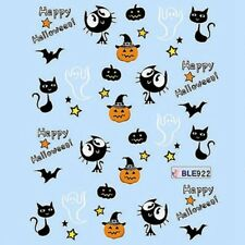 Halloween Nail Art Water Decals Transfers Bats Stars Pumpkins Cat (922)