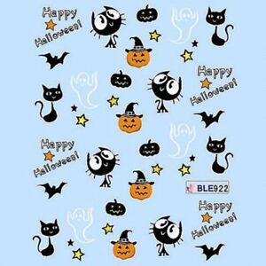 Halloween Nail Art Water Decals Transfers Bats Stars Pumpkins Cat (922)