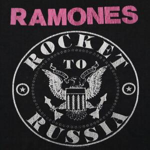 HOT SALE!! Vintage Ramones Band T-Shirt Rocket To Russia Gildan Cotton Black Tee