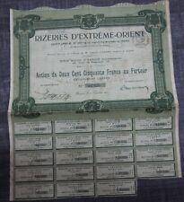 EMPRUNT  ACTION OBLIGATION RIZERIES EXTREME ORIENT 250 FRANCS INDOCHINE 1918