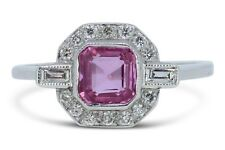 Art Deco Pink Sapphire and Diamond Platinum Cluster Ring 0.40ct + 1.0ct