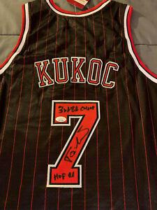 TONI KUKOC Signed CHICAGO BULLS Jersey AUTO HOF Inscription 3X NBA Champ JSA COA