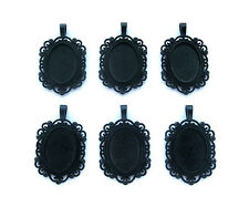 6 Goth Punk Black Goth VENETIAN Style 25mm x 18mm CAMEO PENDANTS Frame Settings