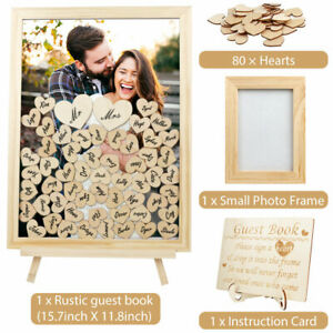 Wedding Guest Book Alternative Personalised Drop Top Frame with 80 Blank Hearts