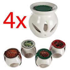 SET OF 4 CERAMIC OIL BURNER + MELTS WAX CANDLE TART TEA LIGHT AROMA LAMP