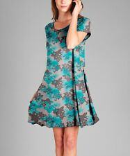 Shift Swing Dress Size UK 8 Ladies Grey & Turquoise Floral + Pockets BNWT #B-339