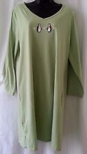 CHARTER CLUB Solid Green 100% CottonPenguin Gown Plus Size 22