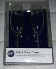 Wilton Bride & Groom Twisted Stem Glasses Clear with White Bells NIB