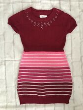 JUSTICE Girls Size 8 Silver Sparkle Red Pink Jewels Sweater Dress EUC