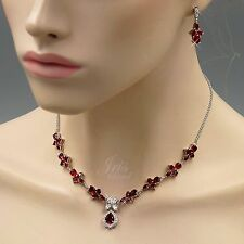 White Gold Plated Ruby Red Zirconia CZ Necklace Earrings Wedding Jewelry Set 555