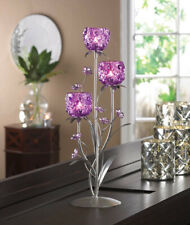 "FUCHSIA BLOOM CANDLE HOLDER - 17 3/4"" HIGH - GLASS, IRON & PLASTIC"
