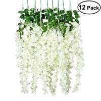 12Pcs Artificial Fake Wisteria Vine Ratta Hanging Garland Silk Flowers Decor US