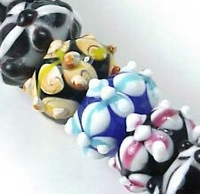 Lampwork Glass Rondelle Multi Color Flower Beads (8)