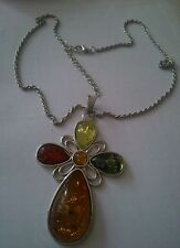 Baltic Amber Cross Retro Modernist 67mm Multitone Pendant & Chain.UK SELLER.NEW