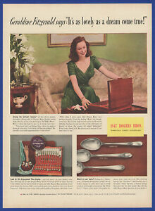 Vintage 1940 1847 ROGERS BROS. Silverplate Silver Geraldine Fitzgerald Print Ad