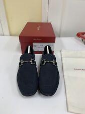 New Authentic Salvatore Ferragamo Men Drivers Shoes Parigi Navy Suede 7 $D 595