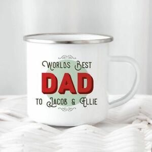 World's Best Dad Tin Metal Camping Mug/Cup Tea Coffee Gift Any Name Xmas Present