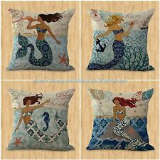 US SELLER-set of 4 cushion covers mermaid ocean nautical cheap pillow covers