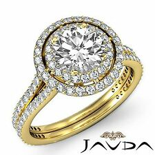 Classic Round Diamond Engagement Halo Pave Ring GIA F VS1 18k Yellow Gold 3.05ct