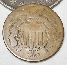 1866 US Two Cent Piece 2C Ungraded Good Date Civil War Era US Copper Coin CC3090