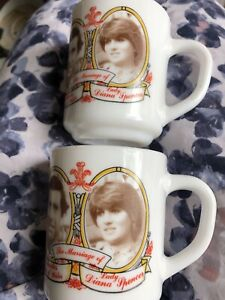 2 Vintage Royal Wedding China Cup Prince Charles And Lady Diana Spencer 1981