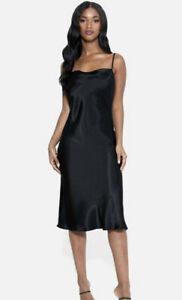 Bebe Sz L Satin Cowl Neck Slip Midi Dress in Black