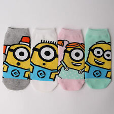 MINIONS CARTOON SOCKS 4 pairs=1 pack women girl cute SHIP FROM USA