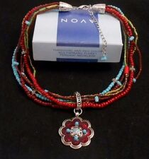 LOVELY AVON TURQUOISE AND RED COLOR MULTI-STRAND FLORET PENDANT NECKLACE NOS