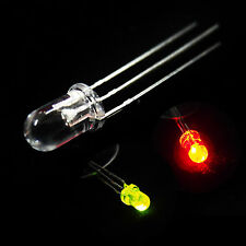 100 x 3mm Dual Bi-Color Red Green Bright 3-Pin Clear bulb LED Common Anode