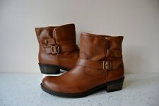 "CLARK`S ""NATALIE"" TAN LEATHER FAUX FUR BIKER STYLE ANKLE BOOTS UK 8D RRP £55.00"
