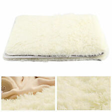 Fashion Fluffy Anti-skid Rug Shaggy Artificial Wool Bedroom BathRoom Floor Mat