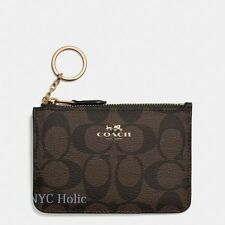 New Coach F63923 Key Pouch With Gusset In Signature Brown Black NWT