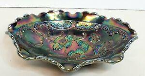 "Vintage Fenton Black Carnival Glass Candy Dish Floral Pattern 7.5x5.5"""